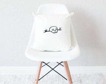 White throw pillow with insert / minimal home decor / skull design cushion /