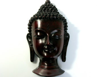 Vintage Buddha Head / Buddha Mask / Thai Wall Hanging / Wall Art / Zen Decor / Buddha / Buddhism / Yoga Studio Decor / Spiritual / Zen Art