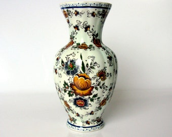 50s / Hubert Bequet / Hand Painted Vase / Polychrome Vase / Mid Century / Cabinet Vase / Floral / Tall Vase/ Quaregnon/ Belgium/ Collectible