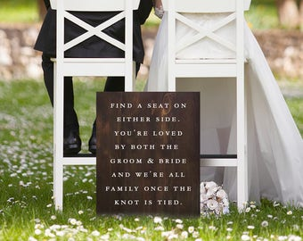 Find a seat wedding ceremony sign, ceremony decor wedding seating sign, painted wooden wedding sign, large rustic wedding decor gift signage