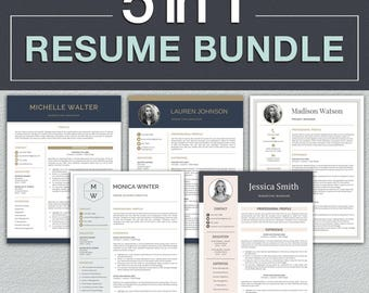Resume Template Bundle / Professional Resume Template for Word + Cover Letter | Modern CV Template | Professional CV Instant Download Resume