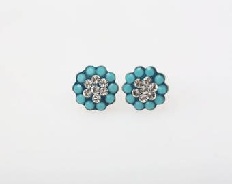 Sterling Silver Pave Radience Stud Earrings, Swarovsky Crystals, 7mm Flower, Turquoise & Crystal Color, Unique BlingBling Korean Style