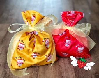 Birthday Gift Bag, Plush Kids Gifting Sack, Strawberry Birthday Cake Reusable Gift Wrap, Velvet like Bag, Jewelry Fabric Gift Bag, Food Love