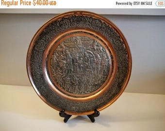 ON SALE Vintage Plate - Antique Ancient Persian/Assyrian Art Repoussé Copper Wall Plate