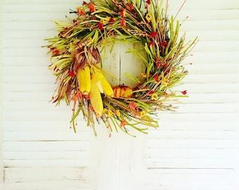 Fall Wreath, Front Door Wreaths, Autumn Wreaths, Harvest Wreaths, Wildflower Wreaths, Farmhouse Wreaths, Fall Front Porch Decor         W323