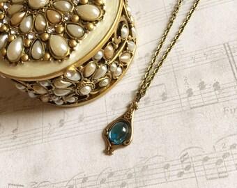 Aquamarine Pendant Necklace, Aquamarine Jewelry, Aquamarine Necklace, Art Nouveau Necklace, Light Blue Pendant, Aquamarine Pendant