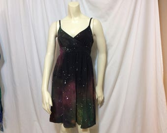Women's Galaxy Dress, Above the Knee V-Neck Dress, Size Small