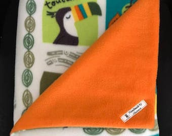 Zoo animals blanket, fleece blanket, safari