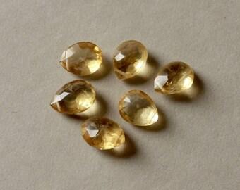 Faceted Citrine Briolettes, Gemstone Pear Briolettes, Yellow Gemstone Beads, November Birthstone