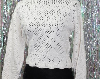 90's Fish Net White Sweater (S-M)