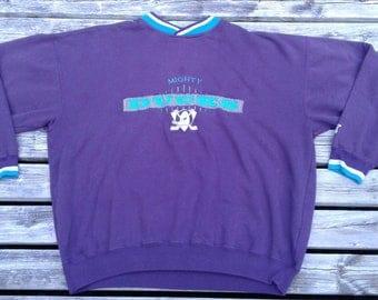 Vintage 90's Anaheim Mighty Ducks Starter Purple Teal Crewneck Sweatshirt XL