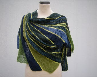 Shawl, wrap, hand knit, shawl, scarf, Faecherschal, turquoise green petrol