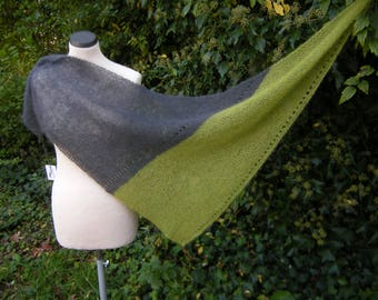 Triangle Shawl, triangle scarf, stole, scarf, kid with silk, knitted, anthracite, green