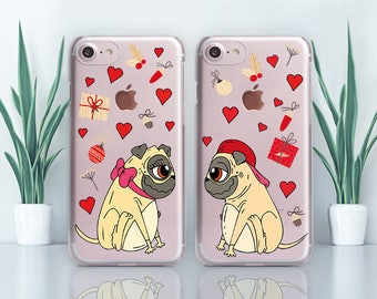 Dogs iPhone 8 Case Couple iPhone Case Transparent iPhone X Case iPhone 7 Case Samsung Note 8 Case Gift iPhone SE Case iPhone 6 Case CZ1904