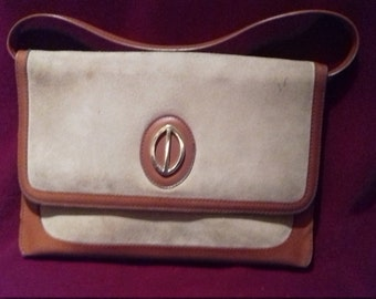 1960s Ladies Vintage handbag / Suede effect front / with removable strap.