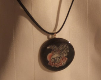 Skull With Roses and Raven Resin Pendant Necklace