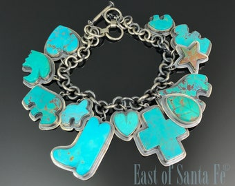 Turquoise Charm Bracelet / Necklace Native American Navajo - Donovan Cadman