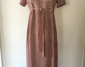 Vintage 90s Cranberry Red and Cream Checkered Empire Waist Maxi Dress Size Small