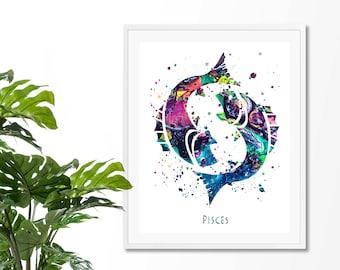 Pisces #2 Watercolor  Astrology Art Print, Pisces  Sign , Pisces Zodiac, Pisces Wall Art,  Pisces Poster, Gifts for Pisces