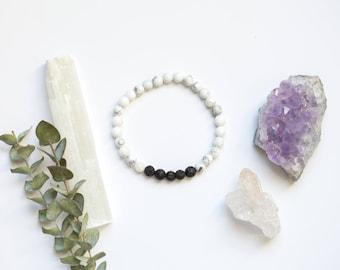 White Howlite and Lava Stone Bracelet | Essential Oil Diffuser Jewelry