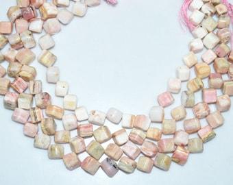 "1 Strand Natural Pink Peruvian Opal 3D Box Smooth Beads - Pink Opal Briolette, Plain 3D Box Briolette, 8 - 10 mm, 14.5""-BL3735"
