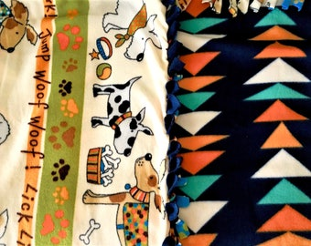 Puppies ON Parade! Handmade fleece blanket designed by JAX. A dog theme throw with 2 pattern combos to choose your perfect pet present!