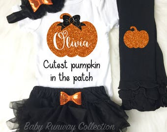 Personalized Halloween Outfit - Baby First Halloween - My First Halloween - Baby Halloween Leg Warmers - Pumpkin Outfit - Fall Girl Outfit