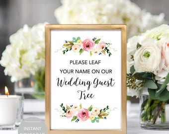 Leaf your name on our wedding guest tree, Wedding Guest Tree Sign, Printable Guest Tree Sign, Guest Tree Sign Instant Download file