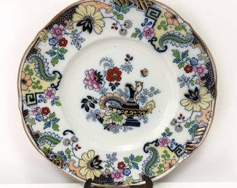 Vintage G.L. Ashworth & Bros., Ironstone plate, #3916, flowers, butterfly, jug, gild, hand painted