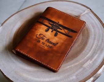 Airplane - Leather Passport Wallet/Passport Cover/Passport Holder/Custom passport holder/travel gift/handmade cover/custom leather passport