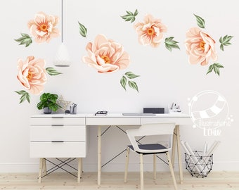 Flower Wild Rose, vintage, applied flower wall art, vinyl sticker wall decoration