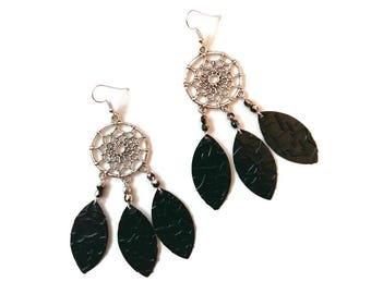 Dream catcher earrings silver feather glass beads drops Black Silver Nespresso Capsules