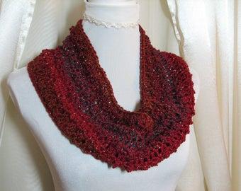 Boho autumn scarf, crochet boho scarf, fashion boho scarf, fall circle scarf, eternity scarf, autumn colors scarf, cowl snood scarf
