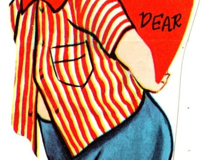 Vintage Girl Holding Heart My Valentine Dear Die-Cut Children's Classroom Valentine's Day Card UNUSED