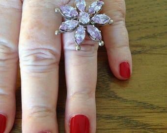 Sterling  Silver Lavender Stones Flower Ring