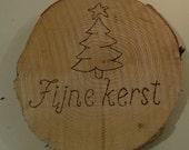 Fine Christmas on wood disk wood burning