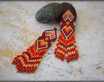 Native American Fringe Earrings, Beaded Fringe Earrings, Long Earrings, Statement Earrings,Nickel Free ,Gift for her,Summer Jewelry