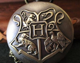 Harry Potter, Hogwarts, Steampunk Necklace watch clock necklace