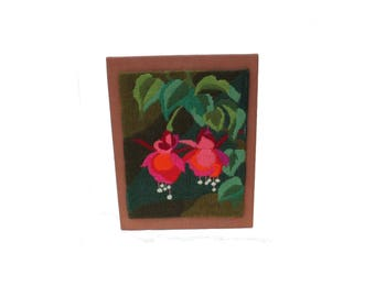 Gorgeous vintage retro 70s Wall hanging Board with handembroidered Flowers in lovely colors. Made in Sweden Scandinavian.
