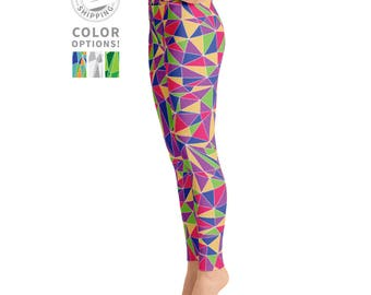 Colorful Pink Triangle Workout Leggings | Wild Leggings | Festival Leggings | Dance Leggings | Womens Leggings | Yogawear | Loopy Jayne