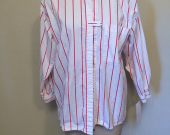 Fun White and Red Striped Tabbed Detail Vintage 80's early 90's Button Up Blouse | Encore | Medium