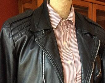 "Small, Short, Unisex Black Brando-Type Faux Multi-Zippered ""Motorcycle Jacket""- small"
