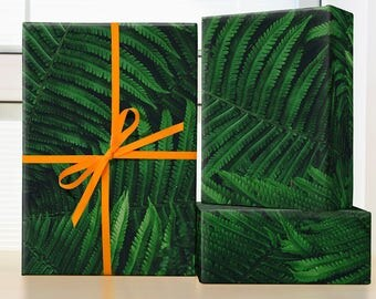 Deep Green Fern Wrapping Paper; wrapping paper fern; wrapping paper christmas; wrapping paper nature; gift wrap christmas