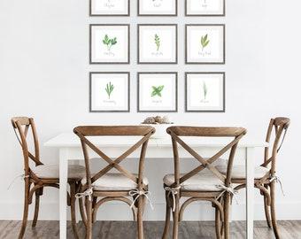 "Set of 9 Kitchen Herb Prints || 8""x8"" Kitchen Herb Wall Art || Kitchen Herb Decor || Garden Herb Print Instant Download (DIGITAL PRODUCT)"