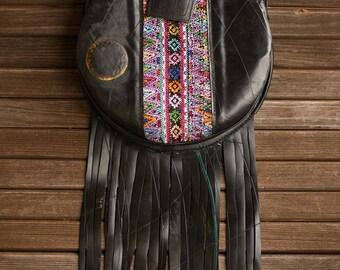 LUPE 2 - Upcycled Tire Purse - Vegan Purse - Recycled Innertube Purse - Crossbody Bag - Eco Friendly Purse - Fringe Purse - Festival Fashion