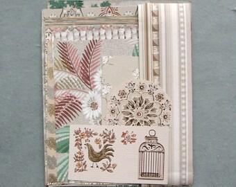 Neutral Vintage Wallpaper Scrap Pack 16 Pieces for Collage Scrapbooking Papercrafts