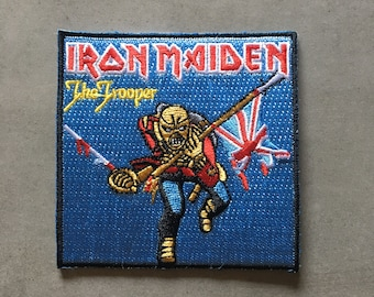 "Iron Maiden ""The Trooper"" iron-on embroidered patch approx. 3.2"" x 3.2"""