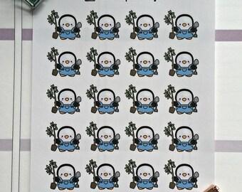 Poppy the penguin mini stickers - Gardening