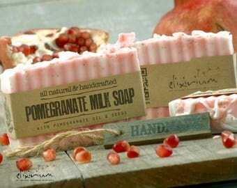 POMEGRANATE MILK SOAP~ Seeds infused Organic Soap~Organic skin care~Bath and Beauty~Rustic Soap~Natural soap~moisurizing soap~milk soap