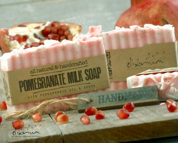 POMEGRANATE MILK SOAP • Seeds infused organic soap, a rustic, all natural, handmade milk soap for organic skin care.